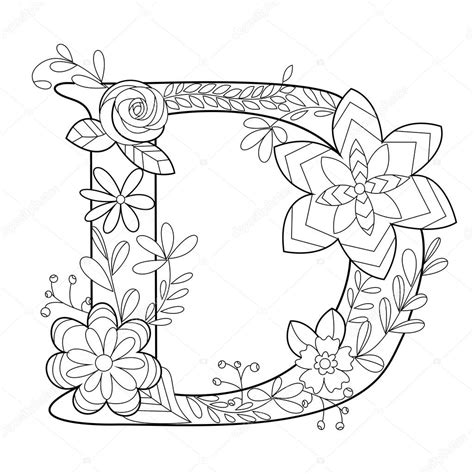 Kleurplaat Letter D by Letter D Coloring Book For Adults Vector Stock Vector
