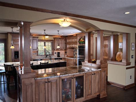 Open Shelves Kitchen, Kitchen Islands With Columns And
