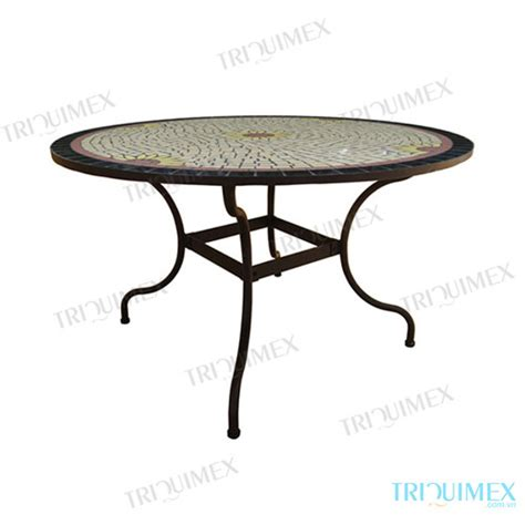 mosaic patio dining table with wrought iron base
