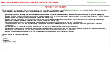 electrical engineer experience letter