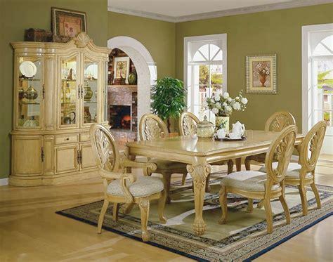 antique white formal dining room  carving details