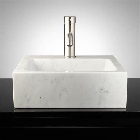 Polished Square Cararra Marble Vessel Sink Bathroom