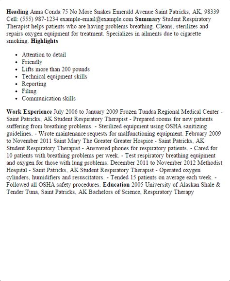 100 sle resume respiratory therapist sle home