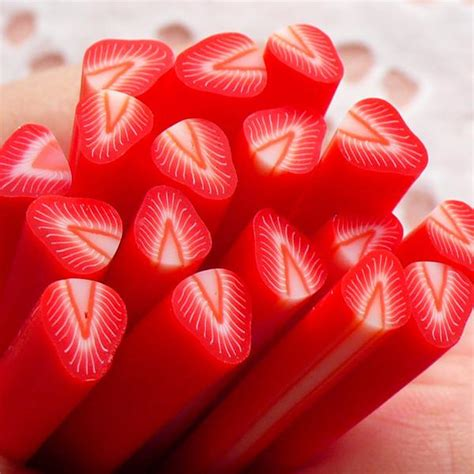 slicing strawberries for decoration polymer clay strawberry fruit fimo or slices min miniaturesweet kawaii