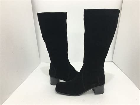 womens thigh high boots size 9 la canadienne black suede 39 s knee high heel boots size us 9 5 m what 39 s it worth