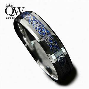 queenwish 6mm blue silvering celtic dragon tungsten With wedding rings size 5 5