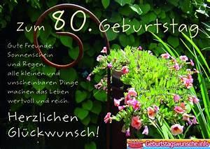 Besinnliches Zum 80 Geburtstag : gl ckw nsche zum 80 geburtstag ~ Frokenaadalensverden.com Haus und Dekorationen