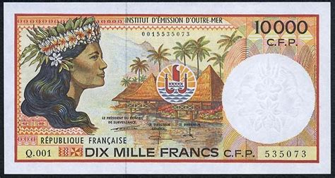 french pacific territories banknotes cfp  francs note