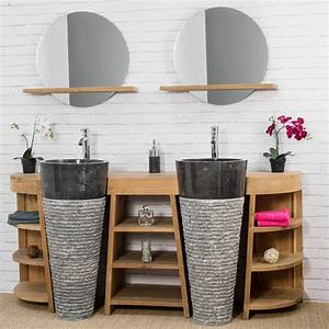 Mobilier Salle De Bain : meuble de salle de bain en teck florence double 180cm vasques noir ~ Teatrodelosmanantiales.com Idées de Décoration