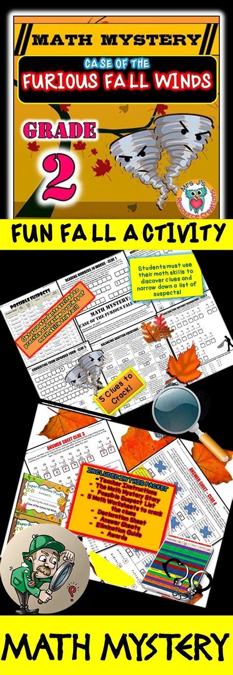 grade fall activity fall math mystery worksheets