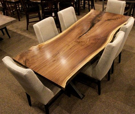Kitchen Island Storage Ideas - walnut live edge slab table set solid hardwood furniture locally handcrafted tables