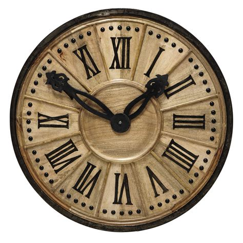 horloge decorative en bois   cm langlois maisons du monde
