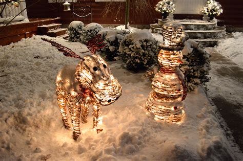 rattan snowman  moose outdoor christmas decorations