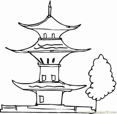 Pagoda Coloring Buildings Tree Pages Printable Japanese
