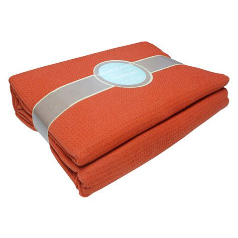 100% Cotton Honeycomb Terracotta Throw Tonys Textiles