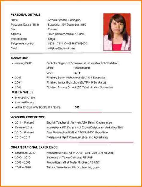 How To Write A Cv For A Application by Sle Of Curriculum Vitae For Application Letters