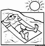 Beach Coloring Sunbathing Clipart Sunbathe Pages Printable Summer Clip Thecolor Library Read sketch template