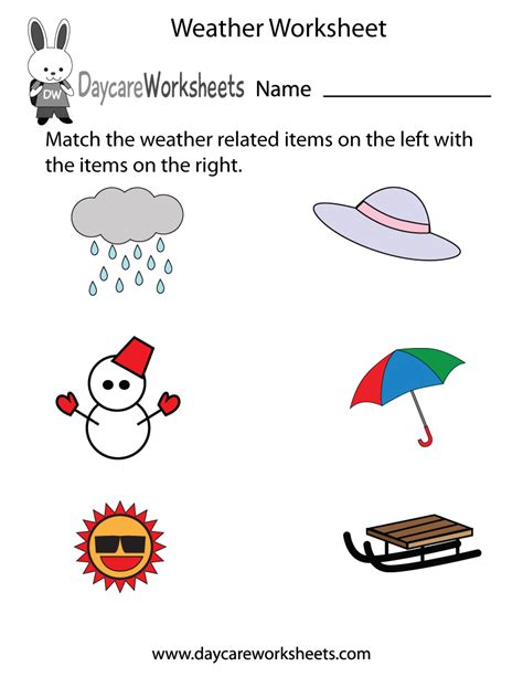 free preschool weather worksheet
