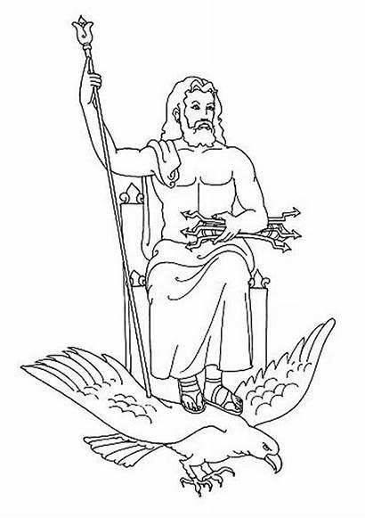Zeus Greek Gods Coloring God Goddesses Drawing