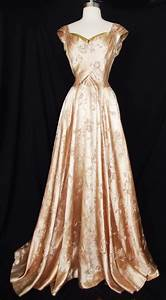 Vtg 30s 40s Silk Satin Brocade Evening Gown Party Dress ...