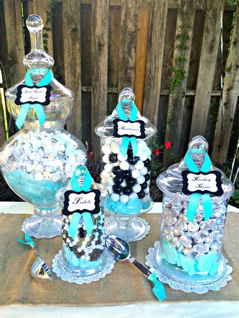 rustic black white  tiffany blue dessert table