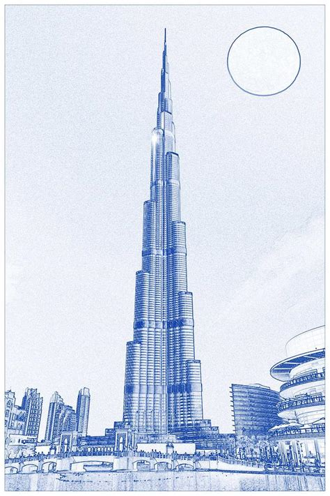 blueprint drawing  burj khalifa emirates dubai