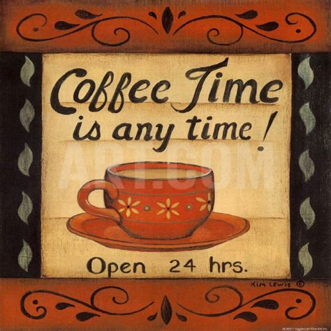 Coffee Time Any Time Cafe Kitchen Decor Theme Design