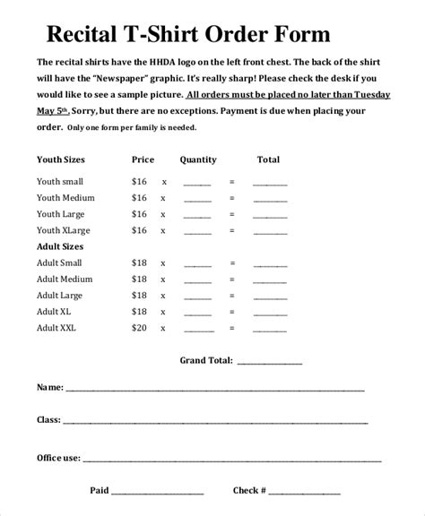 shirt order form template template business