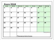 Calendario para imprimir enero 2018 Nereus 1