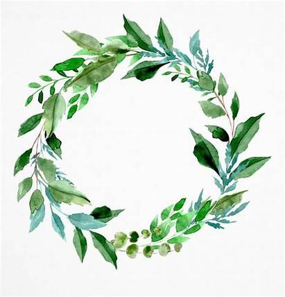 Greenery Watercolor Clipart Wreath Leaf Foliage Couronne