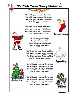 We Wish You A Merry Christmas  Song Tpt Teachers Pay Teachers Freebie Free Download Free