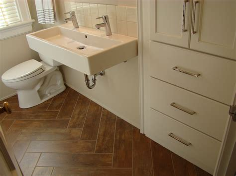 tile flooring    wood bathroom traditional