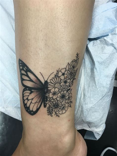 love   butterfly flower tattoolooks perfect