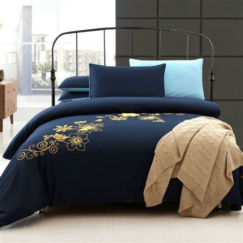 Navy Blue Set by Navy Blue And Yellow 100 Cotton Bedding Sets