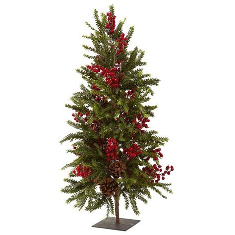 Nearly Natural 36 in. Pine and Berry Artificial Christmas