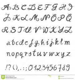 hand drawn gray letters and numbers royalty free stock