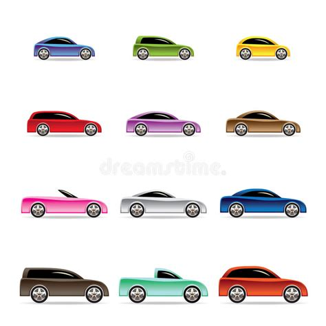 Different Types Of Cars Icons Stock Vector