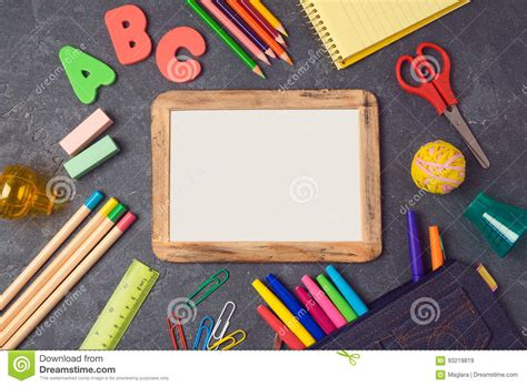back to school mockup image back to school background with poster mock up and school supplies view from above stock photo