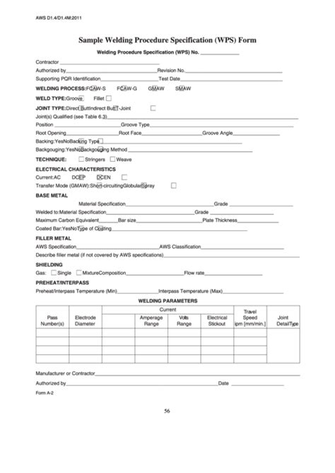 Fillable Form A-2 - Sample Welding Procedure Specification