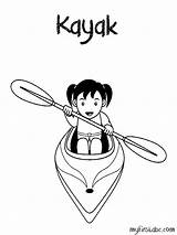 Kayak Coloring Getdrawings sketch template