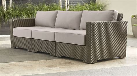 ventura umber sectional  grey outdoor cushions