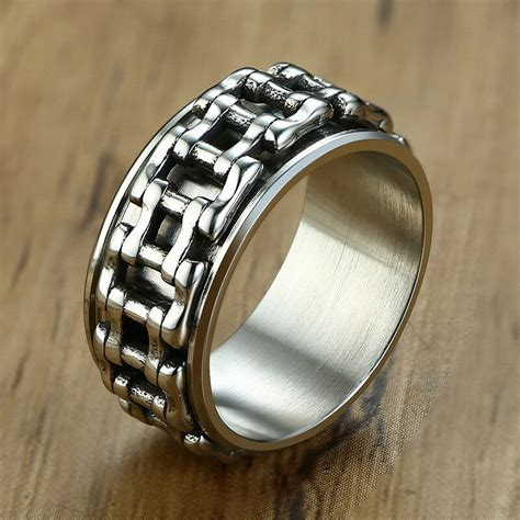 men wedding ring spinning bicycle link chain band