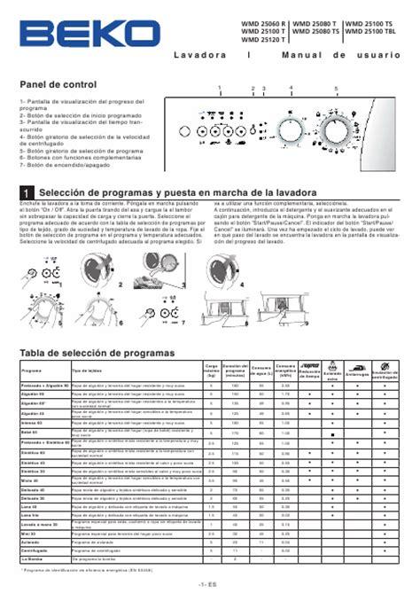 mode d emploi lave linge beko beko wmd 25120 t t 233 l 233 charger pdf mode d emploi espagnol