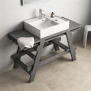 3 Suisses Meuble Salle De Bain : meuble salle de bain bois et vasque 120 cm gris chlo ~ Teatrodelosmanantiales.com Idées de Décoration