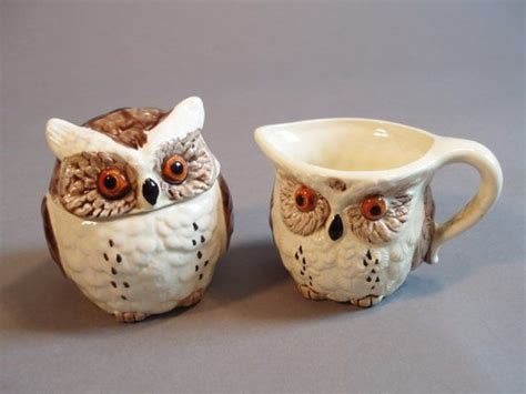 Coffee & tea mug is the perfect way to rise, shine & start your morning. 80s vintage Enesco cute owls sugar and creamer set | Cute ...