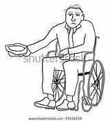 Poverty Disabled Begging Wheelchair Stricken Senior Money Vector Drawings Shutterstock Drawing Clip Clipart Illustration Illustrations sketch template