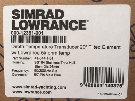 Older Simrad Pin Transducer Will Work The