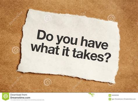 Do You Have What It Takes Question Stock Photo Image