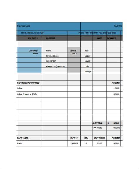 repair invoice template   word excel