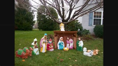 blowmold nativity set youtube